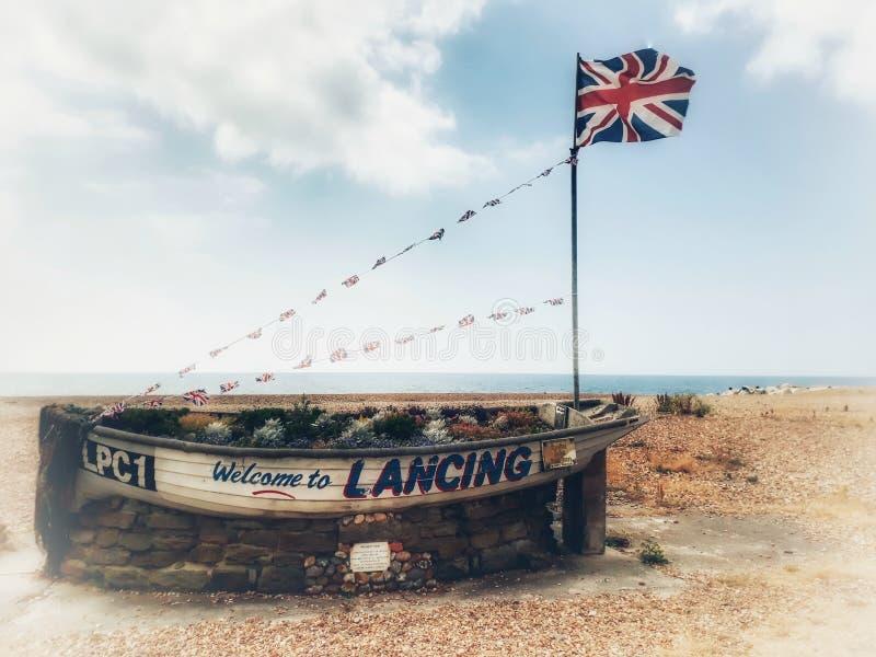 Välkomnande till Lancing arkivfoton