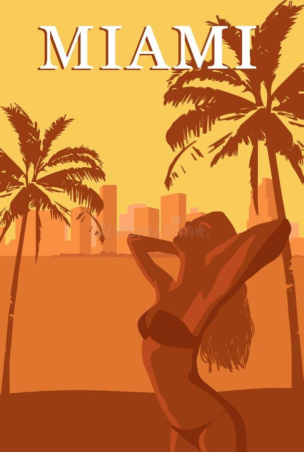 Välkomnande till Miami den retro affischen royaltyfri illustrationer
