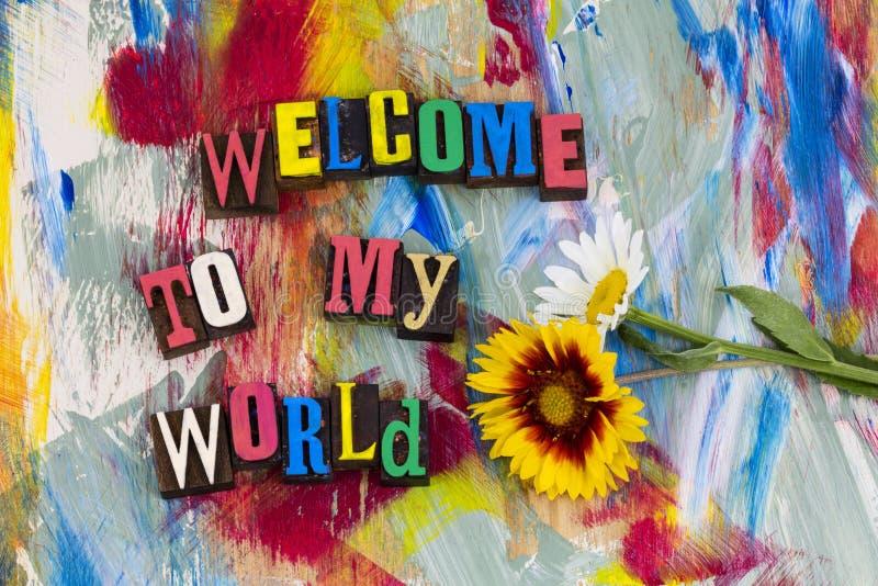 Välkomnande till min världsvänskapsmatch royaltyfri fotografi
