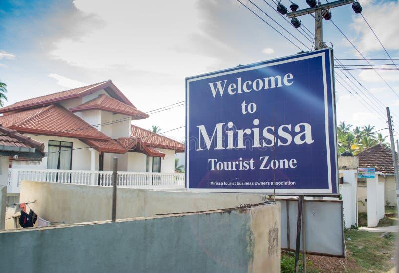 Välkomnande till Mirissa den turist- zonen i Sri Lanka royaltyfri fotografi