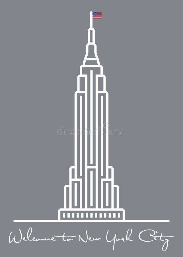 Välkomnande till New York City hälsningkort med symbolen för byggnad för väldetillstånd royaltyfri illustrationer
