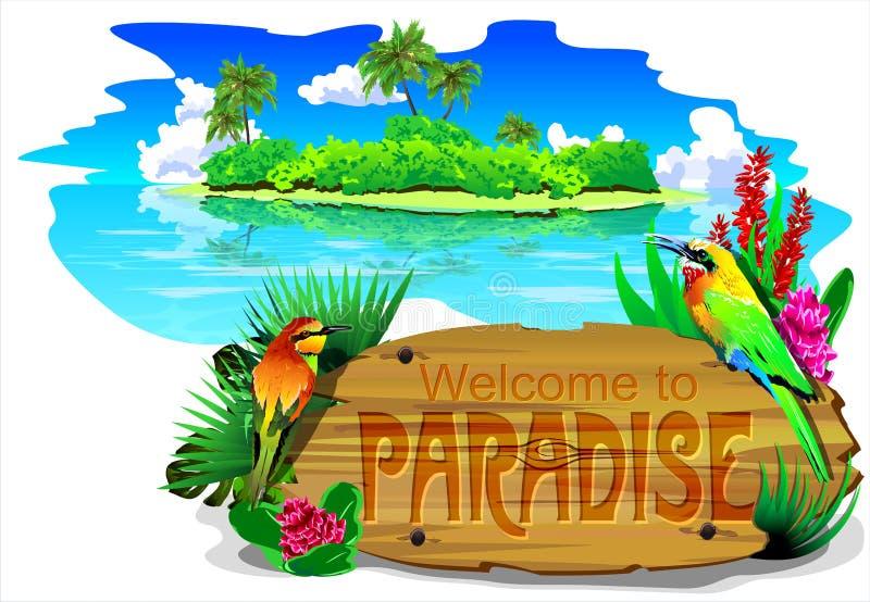 Välkomnande till paradiset (vektorn)