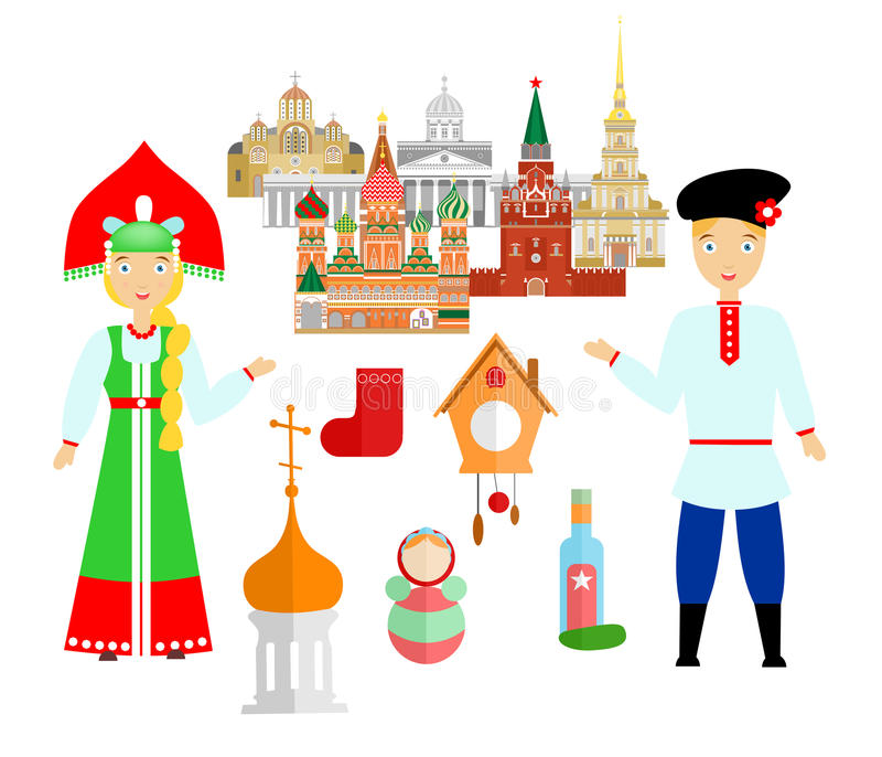 Välkomnande till Ryssland vektor illustrationer