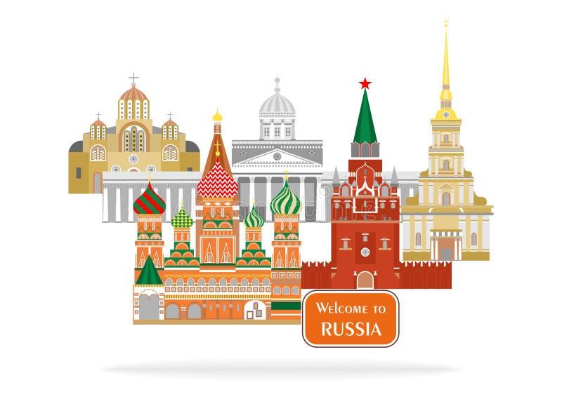 Välkomnande till Ryssland stock illustrationer
