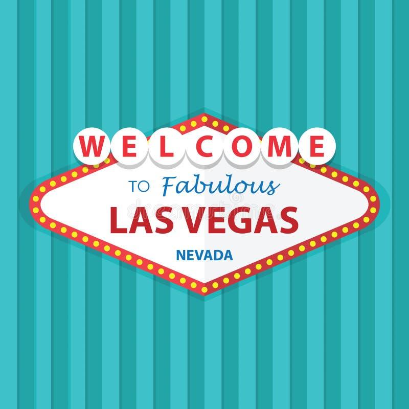 Välkomnande till sagolika Las Vegas Nevada Sign On Curtains Background royaltyfri illustrationer