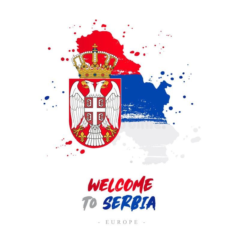 Välkomnande till Serbien Flagga och översikt av landet royaltyfri illustrationer