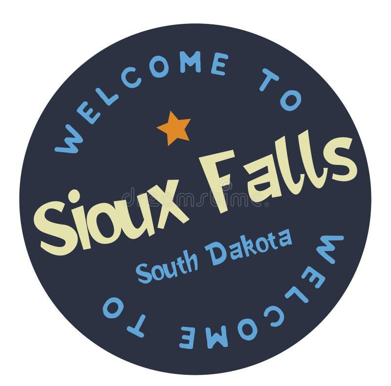 Välkomnande till Sioux Falls South Dakota stock illustrationer