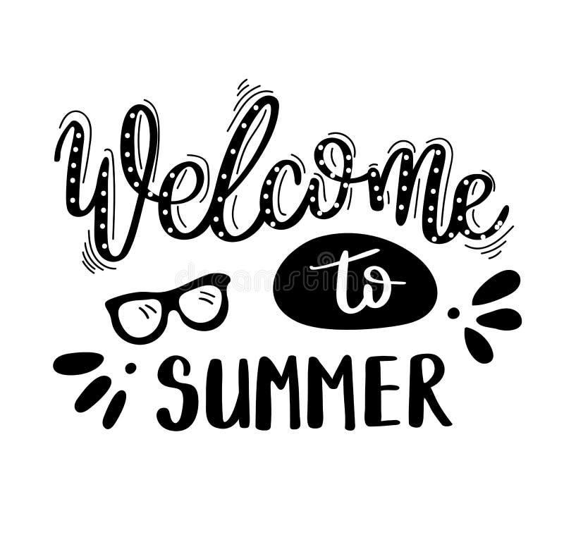Välkomnande till sommar Sommarcitationstecken Handskrivet för feriehälsningkort illustratören för illustrationen för handen för b royaltyfri illustrationer