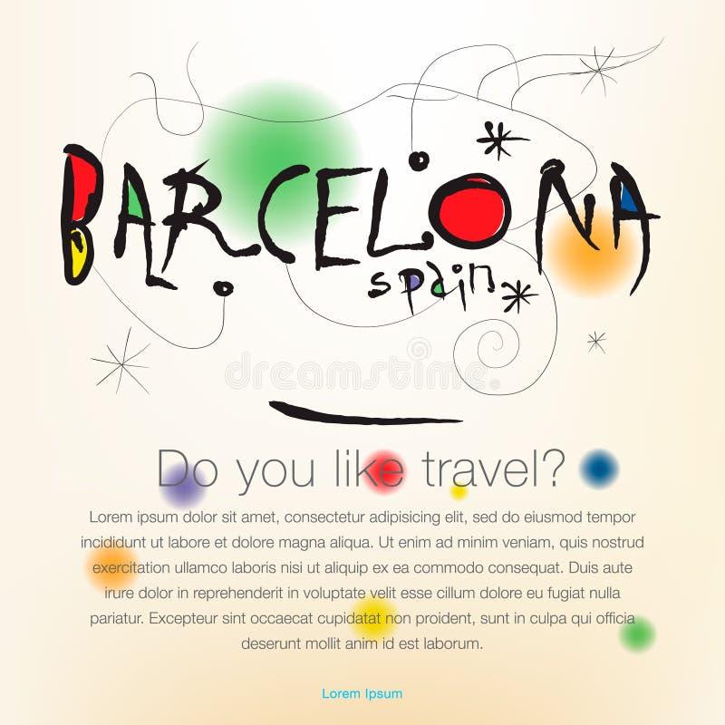 Välkomnande till Spanien, Barcelona, desing bakgrund för lopp, affisch, vektorillustration stock illustrationer