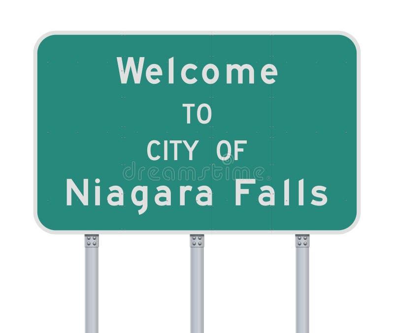 Välkomnande till staden av det Niagara Falls vägmärket stock illustrationer
