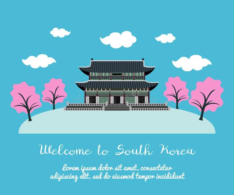 Välkomnande till Sydkorea stock illustrationer