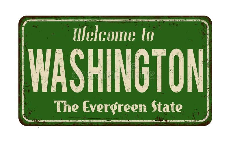 Välkomnande till tecknet för metall för Washington tappning det rostiga royaltyfri illustrationer