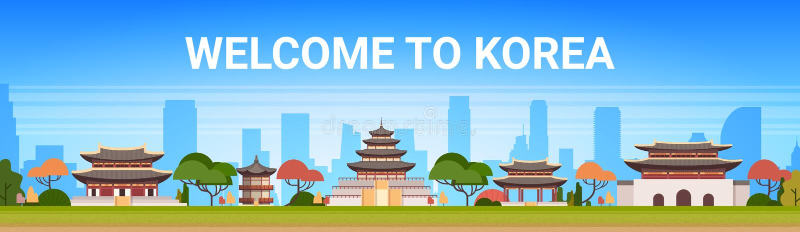Välkomnande till tempel för traditionellt landskap för slott för Korea affisch sydkoreanska över berömd asiat för bergbakgrund royaltyfri illustrationer