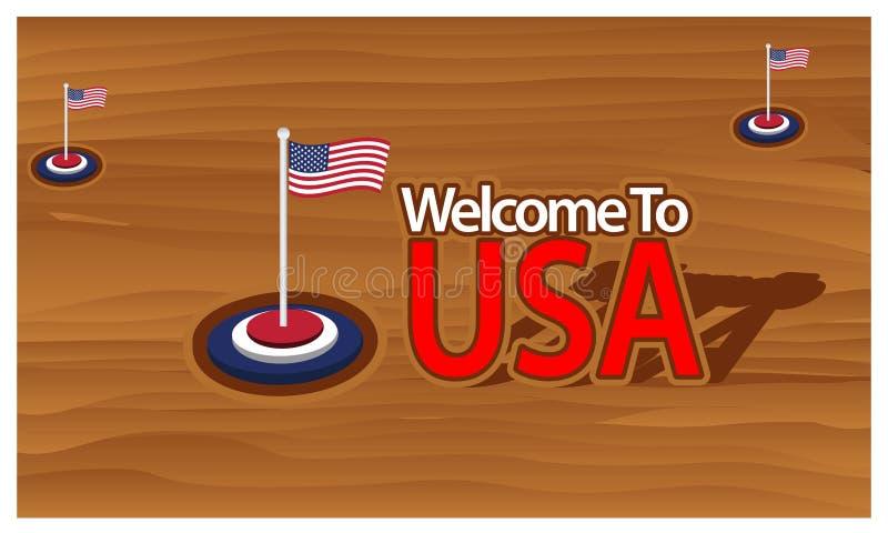 Välkomnande till USA affischen med den Burkina amerikanska flaggan, tid att resa USA Isolerad vektorillustration stock illustrationer
