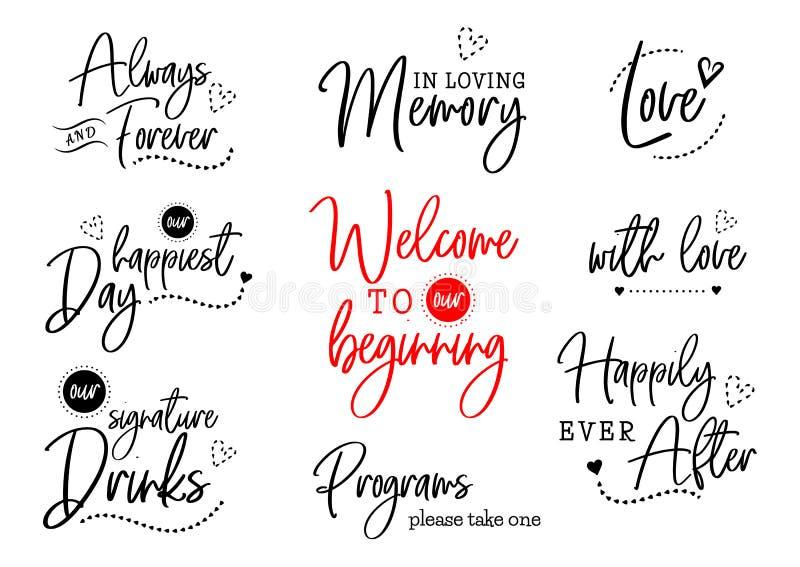 Välkomnande till vår bröllopbokstäver royaltyfri illustrationer