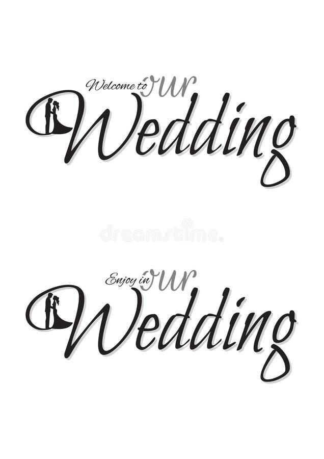 Välkomnande till vår gifta sig mall som uttrycker design stock illustrationer
