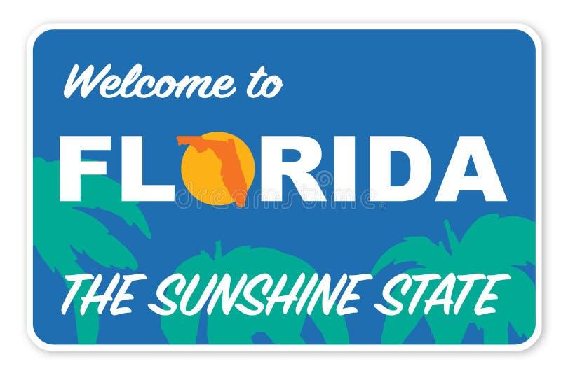 Välkomnande till vektorn Art Logo för Florida gatatecken Sunshine state vektor illustrationer