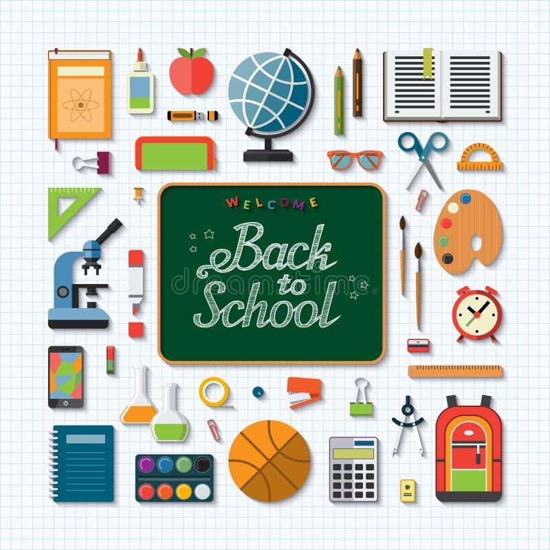 Välkomnande tillbaka till bakgrund för skolalägenhetbegrepp royaltyfri illustrationer