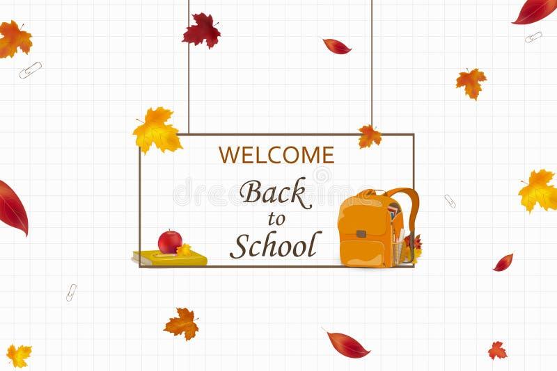 Välkomnande tillbaka till skolabegreppet Tecknad filmskolaryggsäck med skolabrevpapper, utbildningstillförsel, äpple, höstsidor S vektor illustrationer