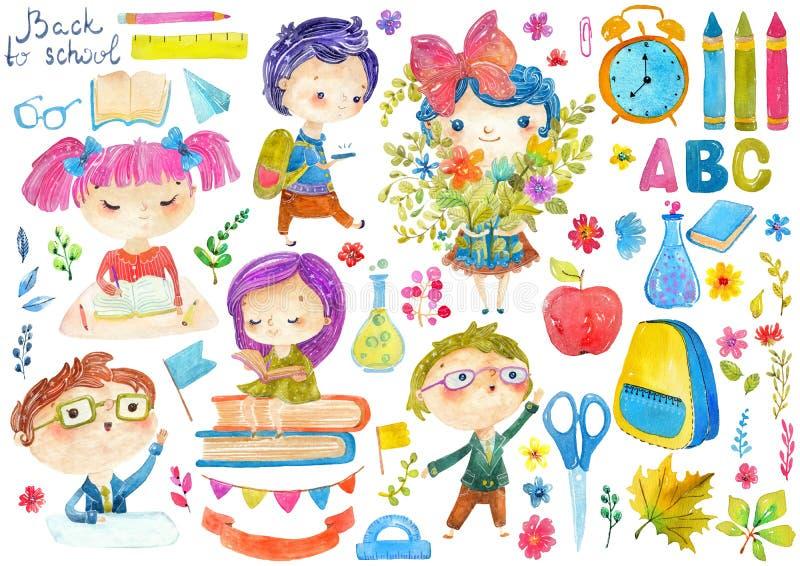 Välkomnande tillbaka till skolan! Gulliga vattenfärgskolaungar stock illustrationer