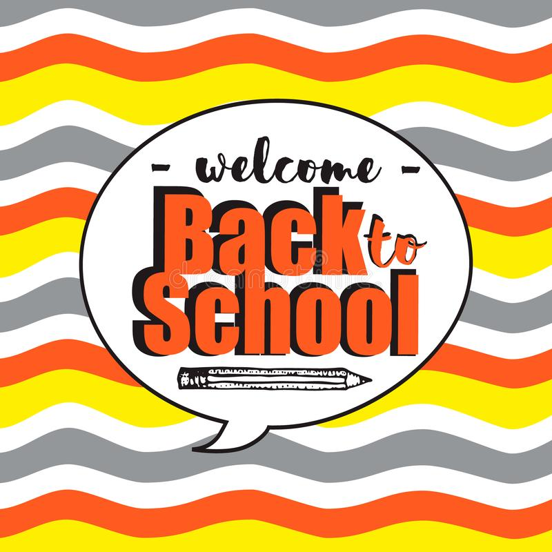 Välkomnande tillbaka till skolan inom anförandebubbla Vektorn vinkar färgrik bakgrund i tecknad filmstil royaltyfri illustrationer