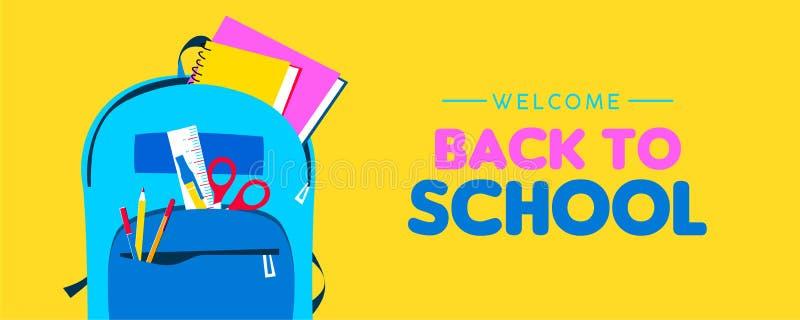 Välkomnande tillbaka till skolarengöringsdukbanret av ungeryggsäcken royaltyfri illustrationer