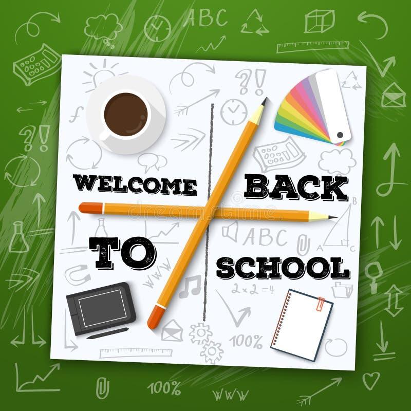 Välkomnande tillbaka till skolavektorillustrationen Inkludera Handdrawn ic vektor illustrationer