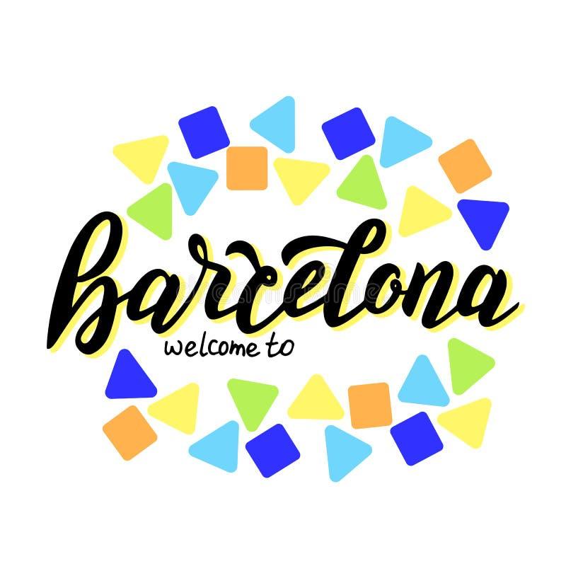 Välkomnandet till den Barcelona handen - gjorde typografitext Modern kalligrafilogo Turismloppbaner stock illustrationer