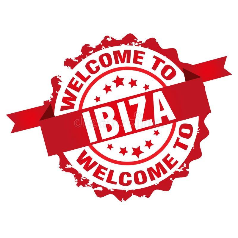 Välkomnandet till Ibiza tamp royaltyfri illustrationer