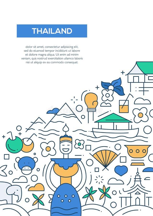 Välkomnandet till Thailand - fodra mallen A4 för designbroschyraffischen stock illustrationer
