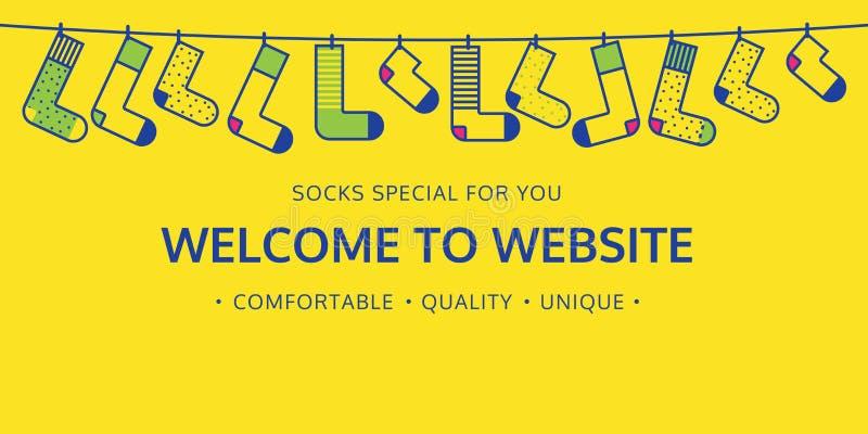 Välkomnandet till websiten för sockor shoppar vektor illustrationer