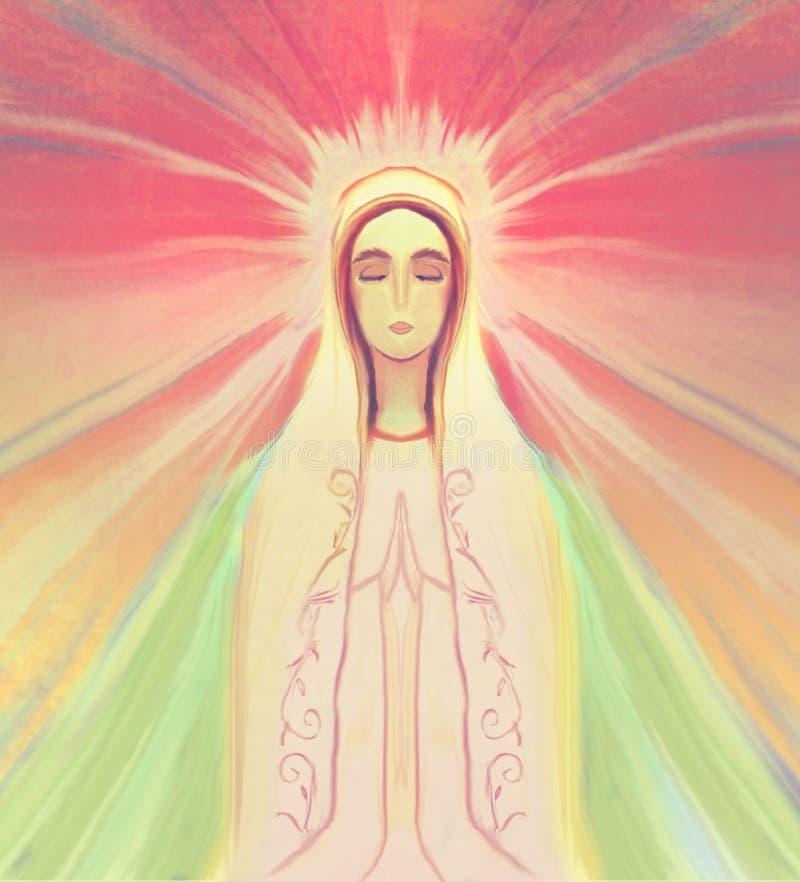 Välsignad jungfruliga Mary stående vektor illustrationer