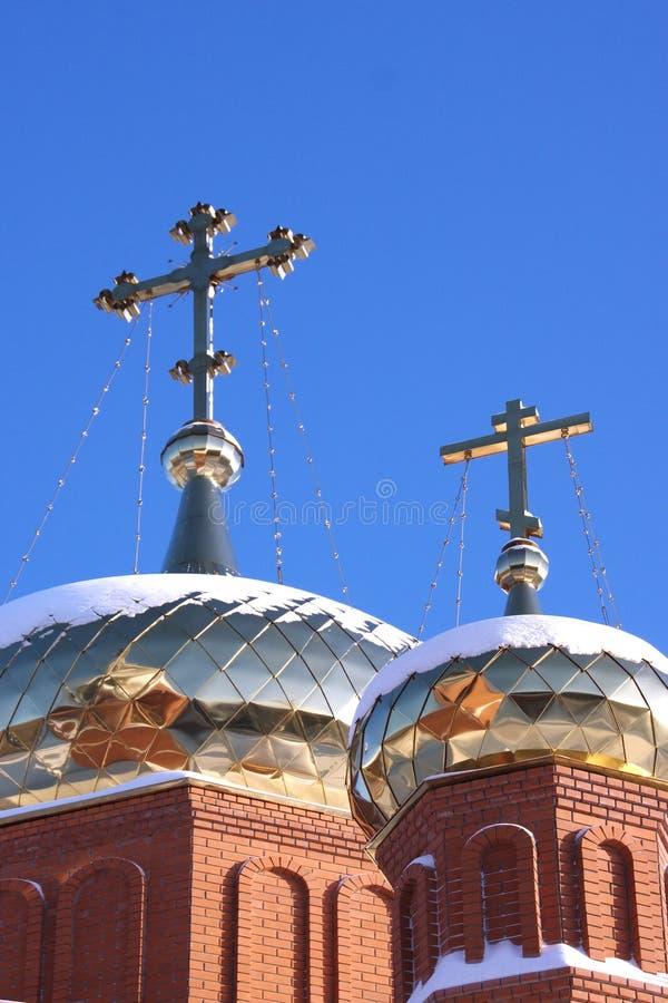 välsignad kyrklig kupolpermanentoskuld royaltyfri bild