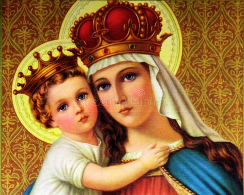 Välsignade mary med barnet Jesus royaltyfri fotografi