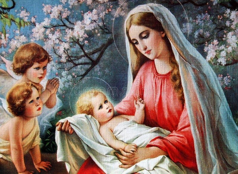 Välsignade mary med barnet Jesus fotografering för bildbyråer