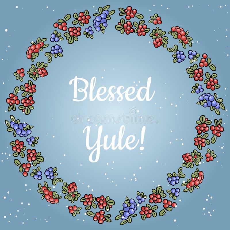 Välsignade Yule som märker i en krans av röda och blåa bär Vektorvykort stock illustrationer
