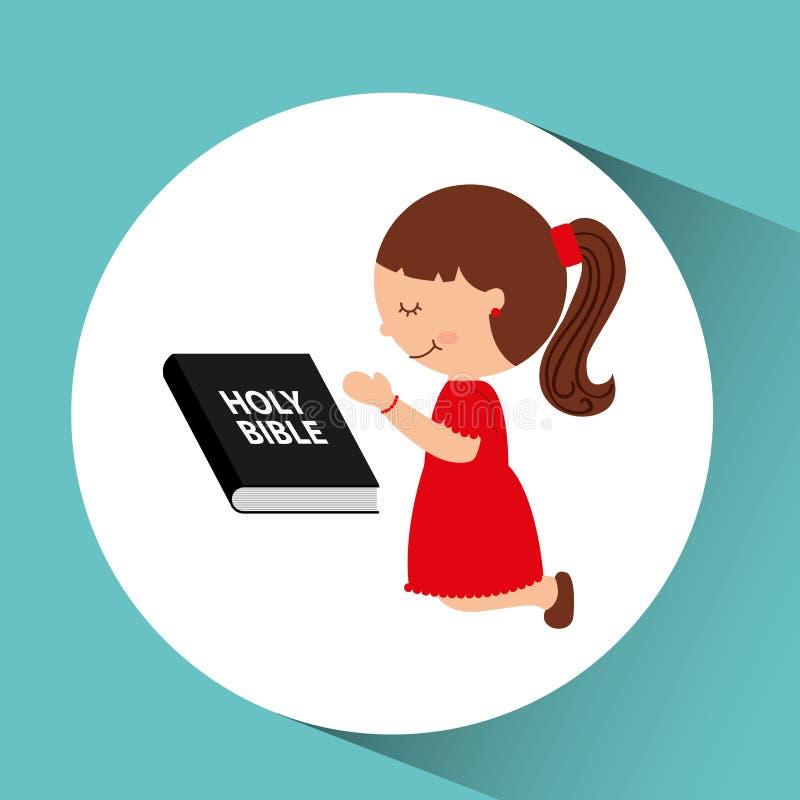 välsignat bibeldiagram för gullig flicka royaltyfri illustrationer