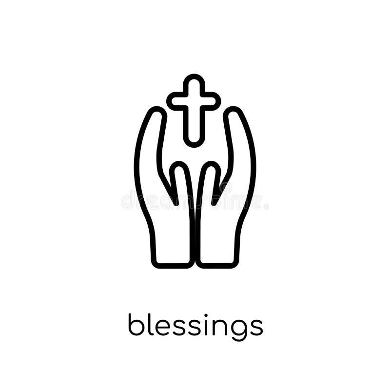 välsignelsesymbol Moderiktig modern plan linjär vektorvälsignelsesymbol vektor illustrationer
