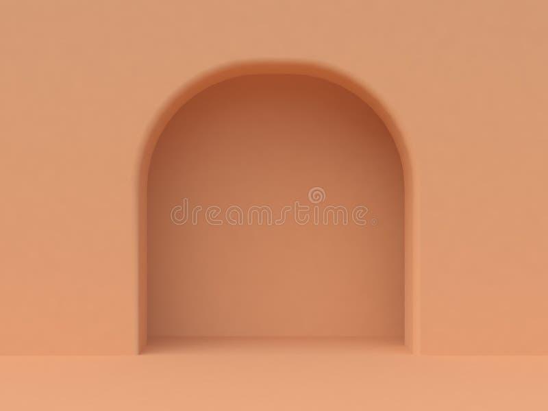 Välvd dörr 3d för minsta orange vägg att framföra vektor illustrationer