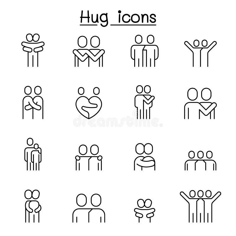 Vän kram, kamratskap, förhållandesymbolsuppsättning i den tunna linjen stil royaltyfri illustrationer