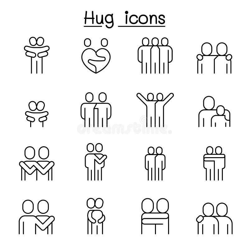 Vän kram, kamratskap, förhållandesymbolsuppsättning i den tunna linjen stil vektor illustrationer