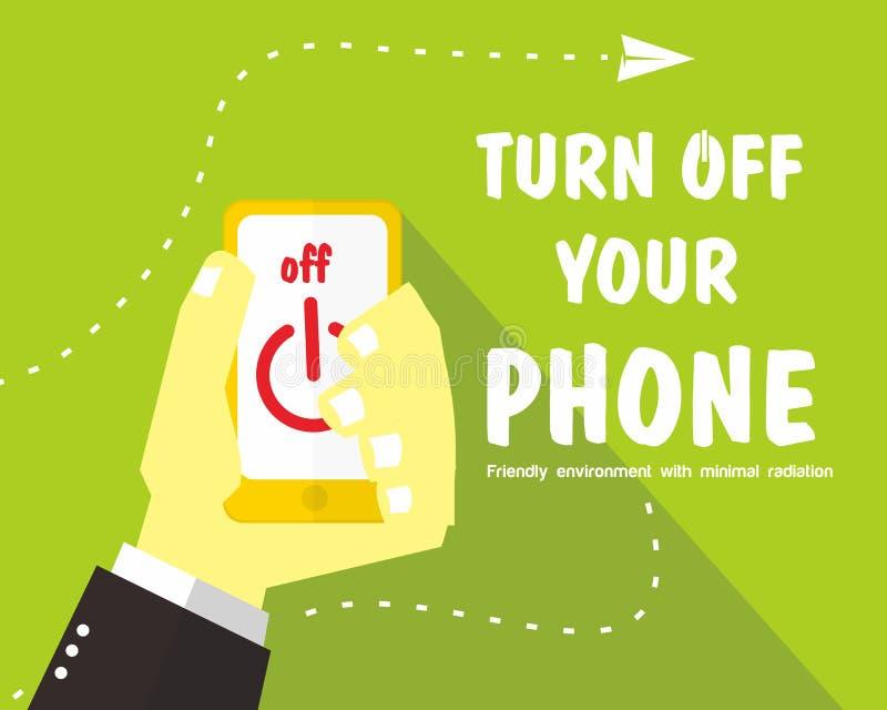Vänd av din telefon stock illustrationer