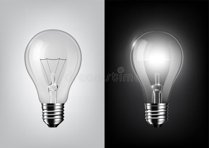 Vänd av ljus kula och glödande ljus kula på svartvit bakgrund, genomskinlig vektor vektor illustrationer