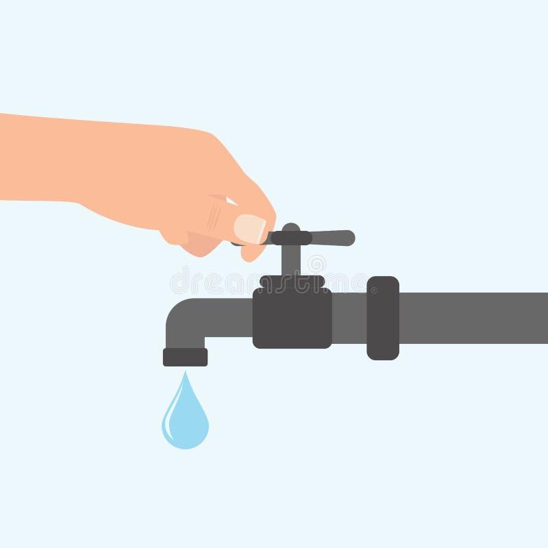 Vänd av vattnet med handen för man som s isoleras på bakgrund Plan illustration för vektor stock illustrationer