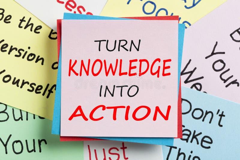 Vänd kunskap in i handlingbegrepp arkivbild