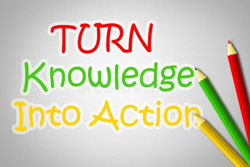 Vänd kunskap in i handlingbegrepp stock illustrationer