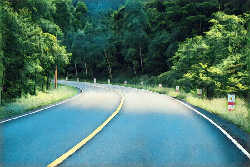 Vänd på den tomma skogvägen Optimistisk digital illustration för sommarlopplandskap royaltyfria bilder
