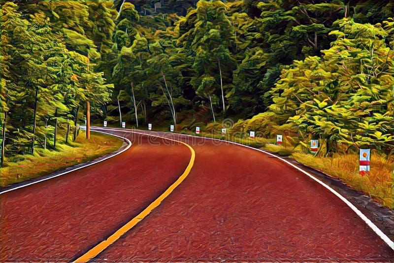 Vänd på den tomma skogvägen Sommarlopplandskap i digital illustration för höst royaltyfri illustrationer