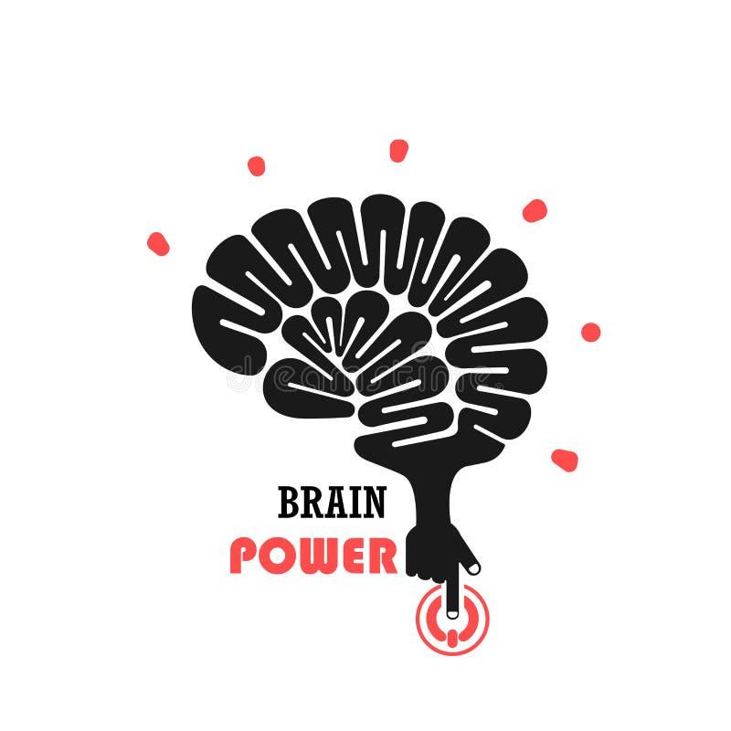 Vänd på det idérika begreppet för den ljusa kulan Brain Logo design royaltyfri illustrationer