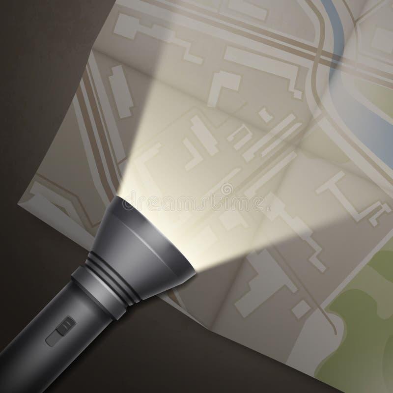 Vänd på ficklampa vektor illustrationer